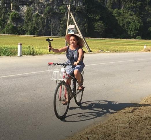 Cheryl on her bike